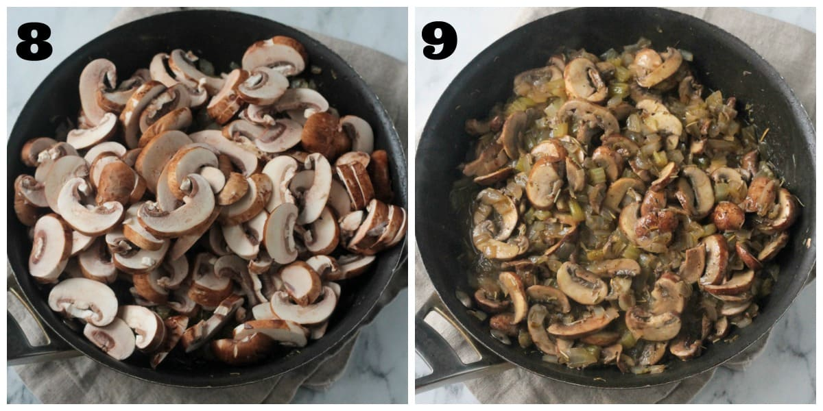 2 photo collage: adding mushrooms to skillet and cooking them down.