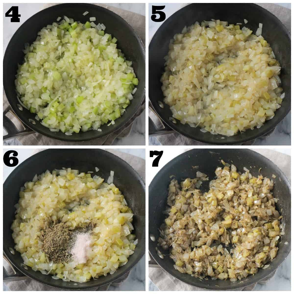 4 photo collage: sautéing onions and celery with wine and herbs.