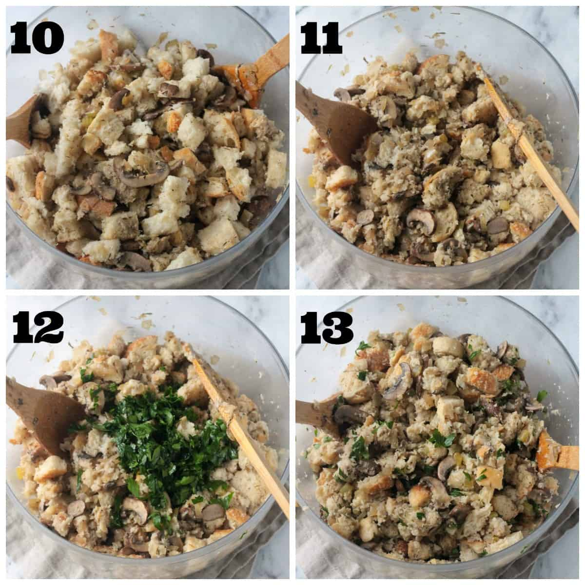 4 photo collage: mixing all the prepared ingredients in a large bowl.