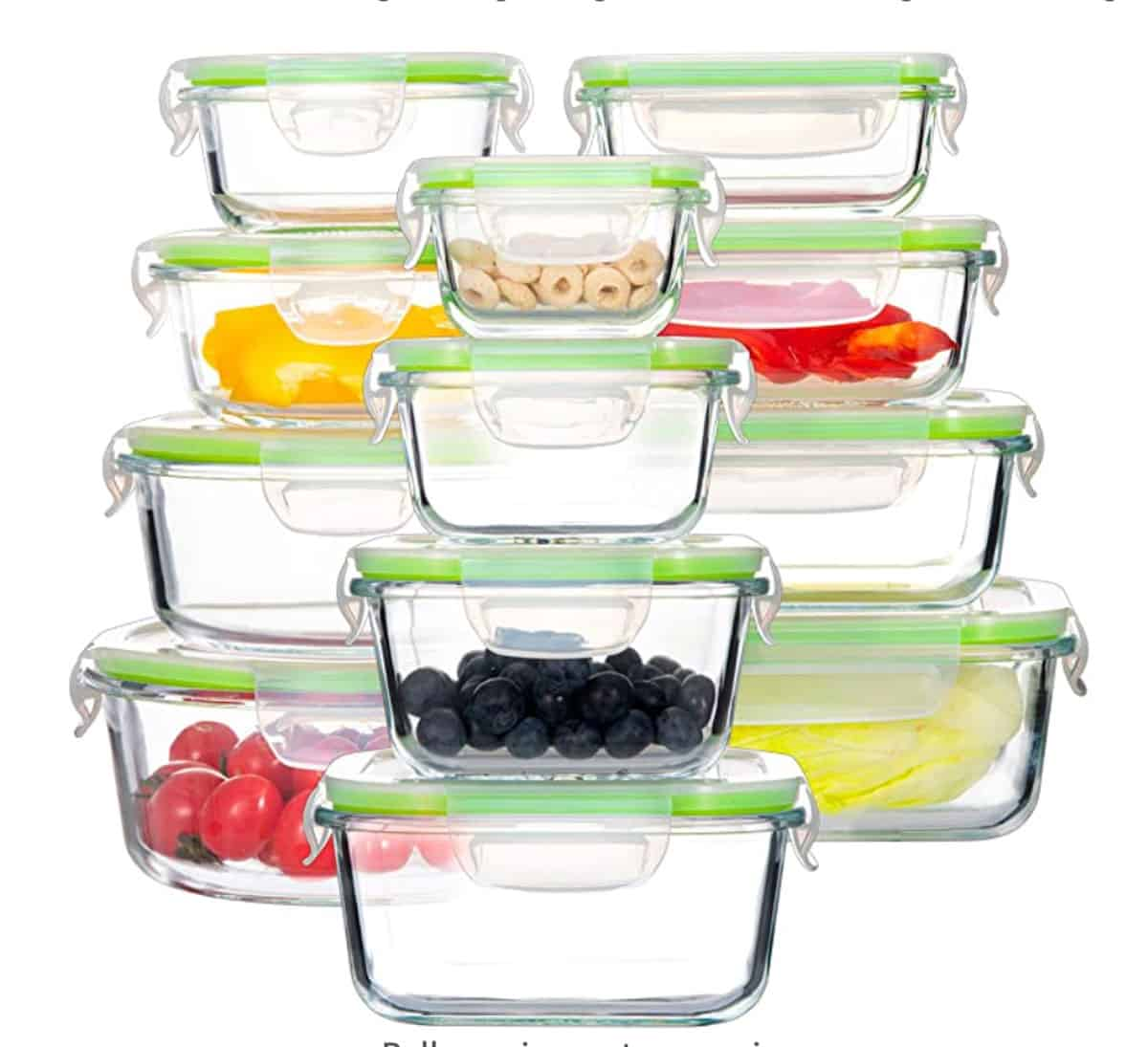 Set of 12 glass storage containers with lids.