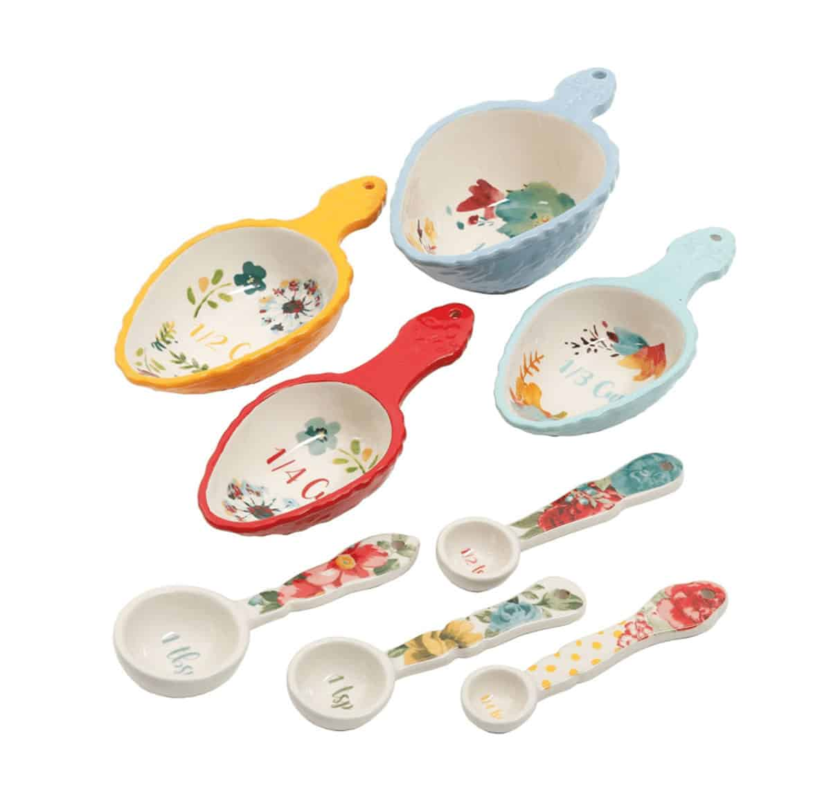 Pretty floral measuring spoon set.