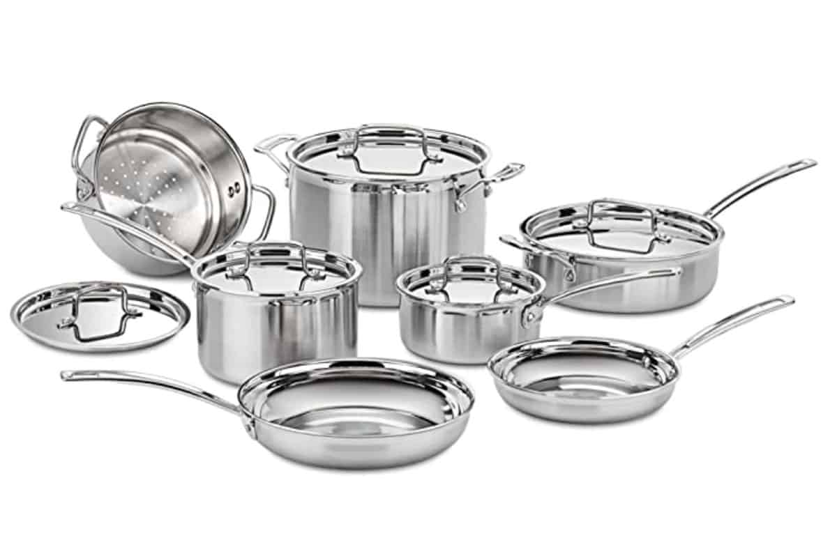 Stainless steel cookware set.