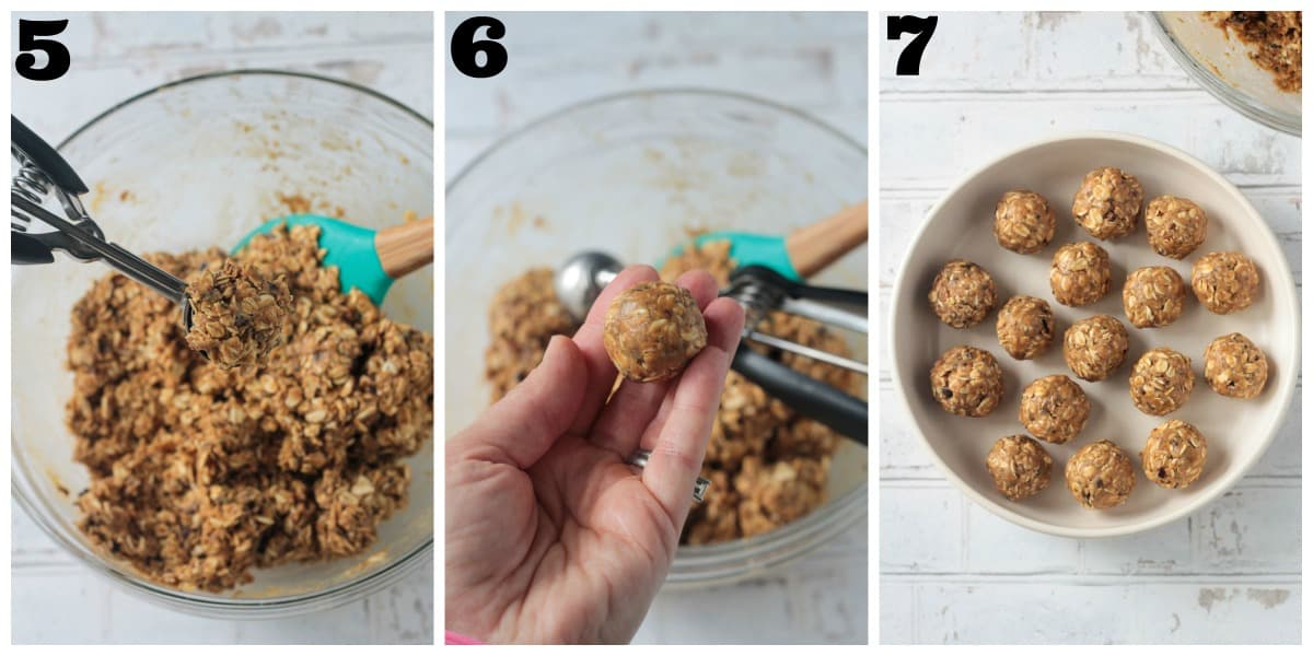 3 photo collage of scooping and forming the peanut butter balls.