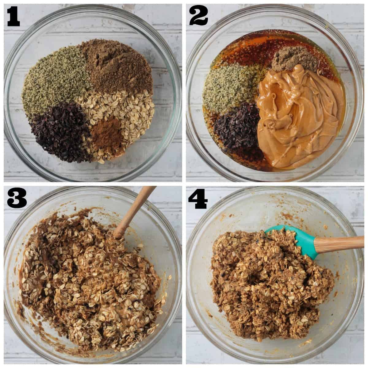 4 photo collage of mixing the ingredients to form a dough.