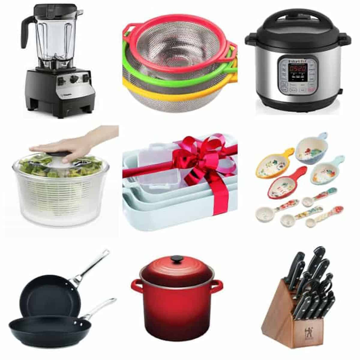 9 photo collage of a variety of kitchen essentials.
