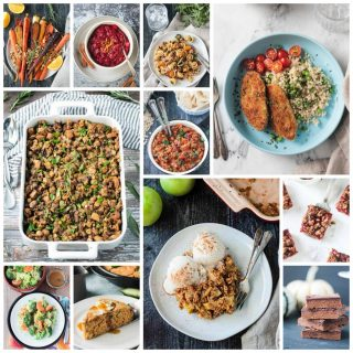 11 photo collage of vegan thanksgiving recipes.