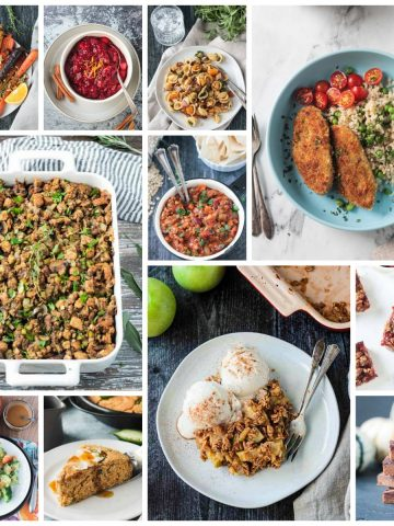 11 photo collage of vegan thanksgiving recipes.