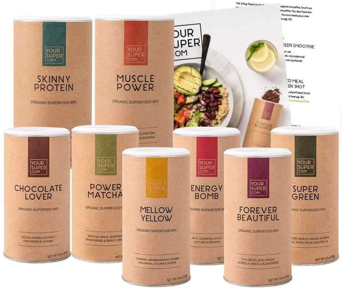 Collection of superfood powders by Your Super.com