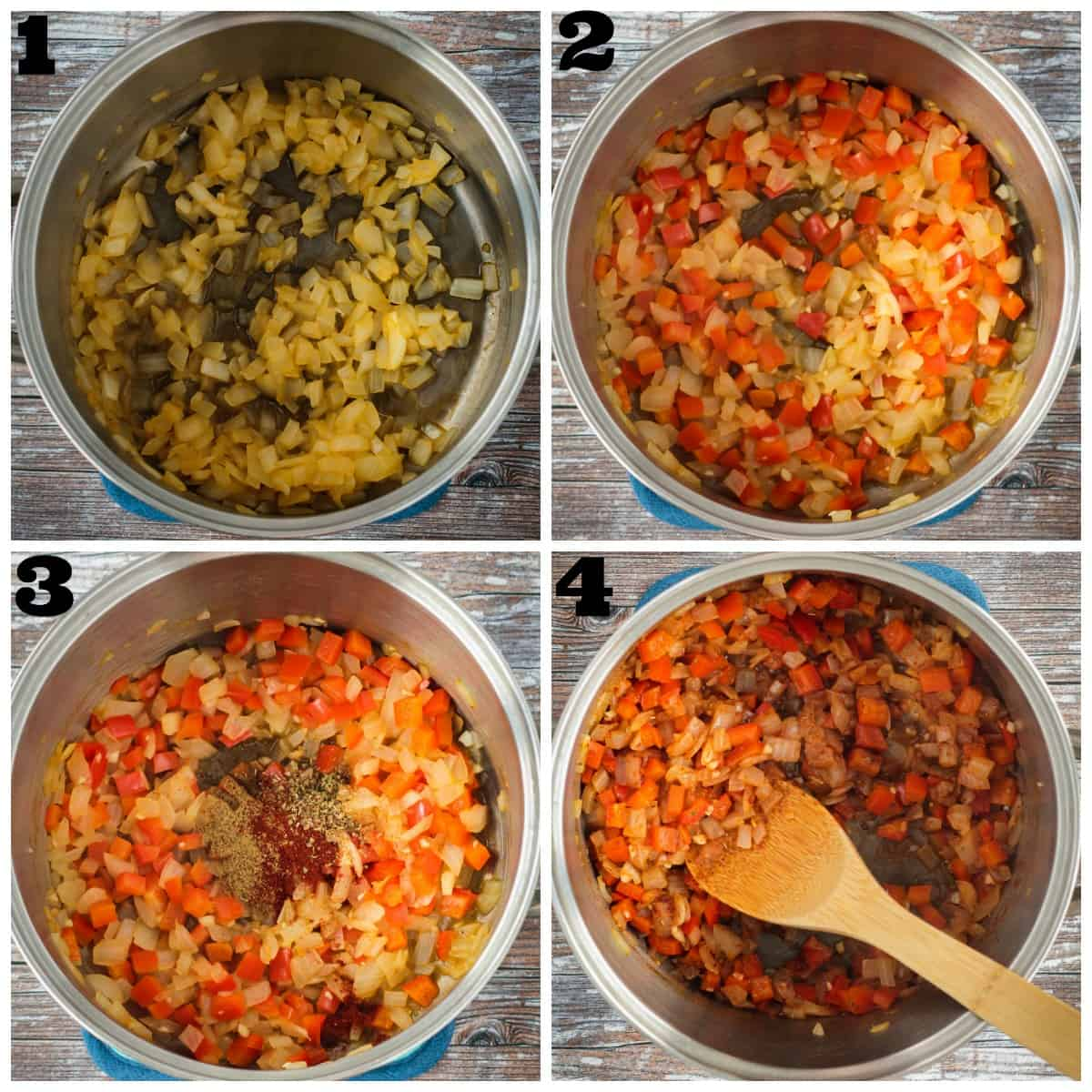 4 photo collage: sautéing onions, veggies and spices in a pot.