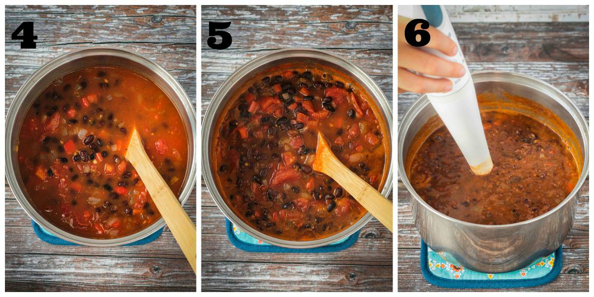 3 photo collage: adding beans and tomatoes to pot, simmering, and blending.