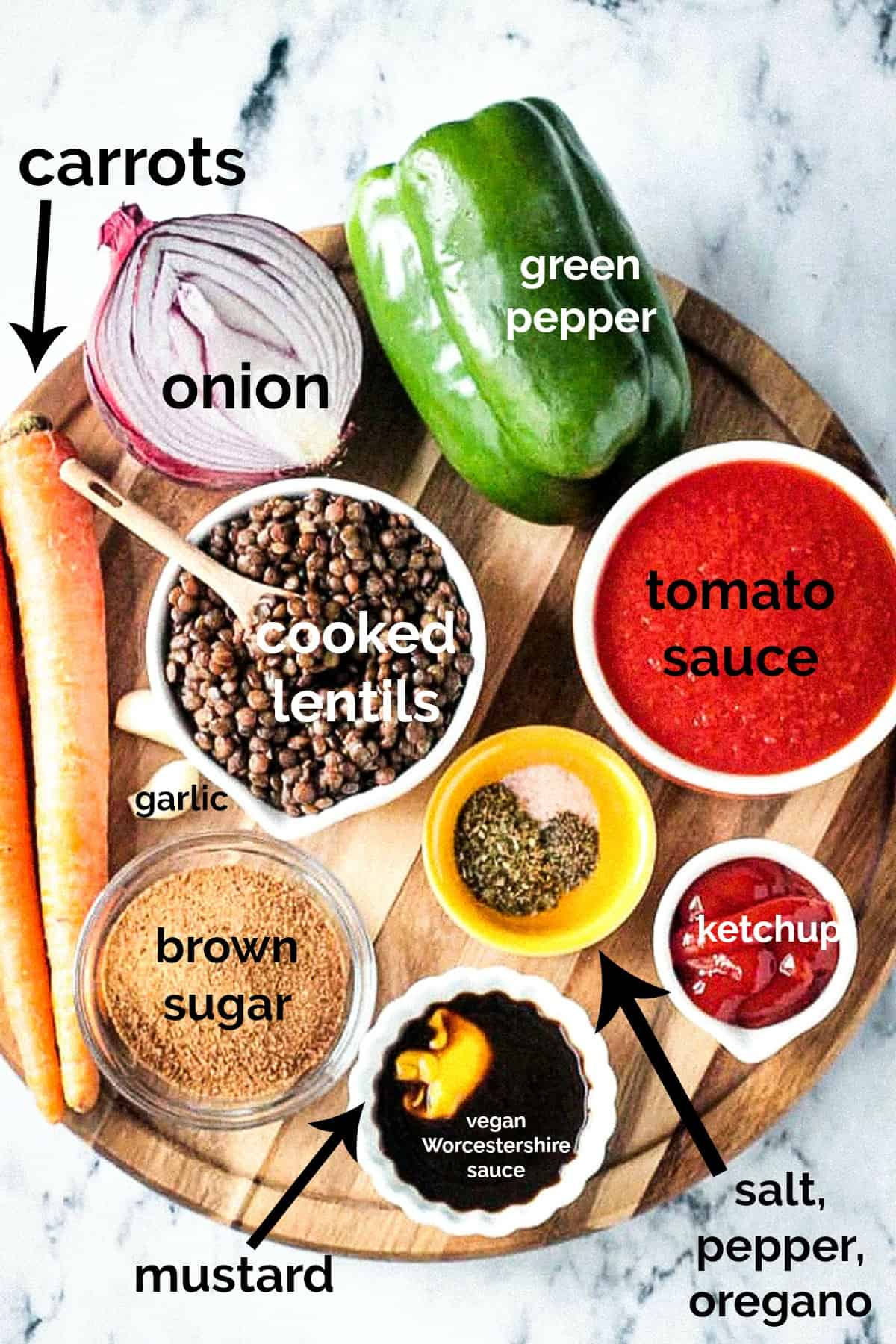 Recipe ingredients arrayed in individual bowls with text overlay.