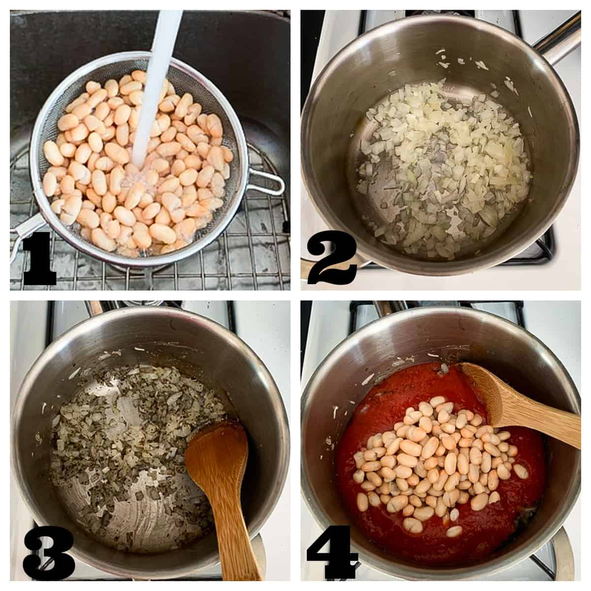 4 photo collage of sautéing the soup ingredients and cooking them down.