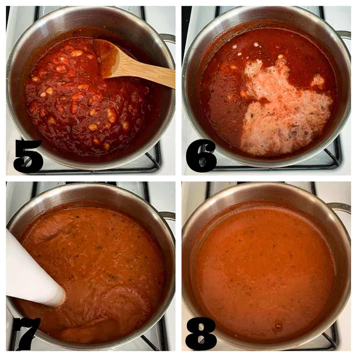 4 photo collage of blending the soup with an immersion blender.