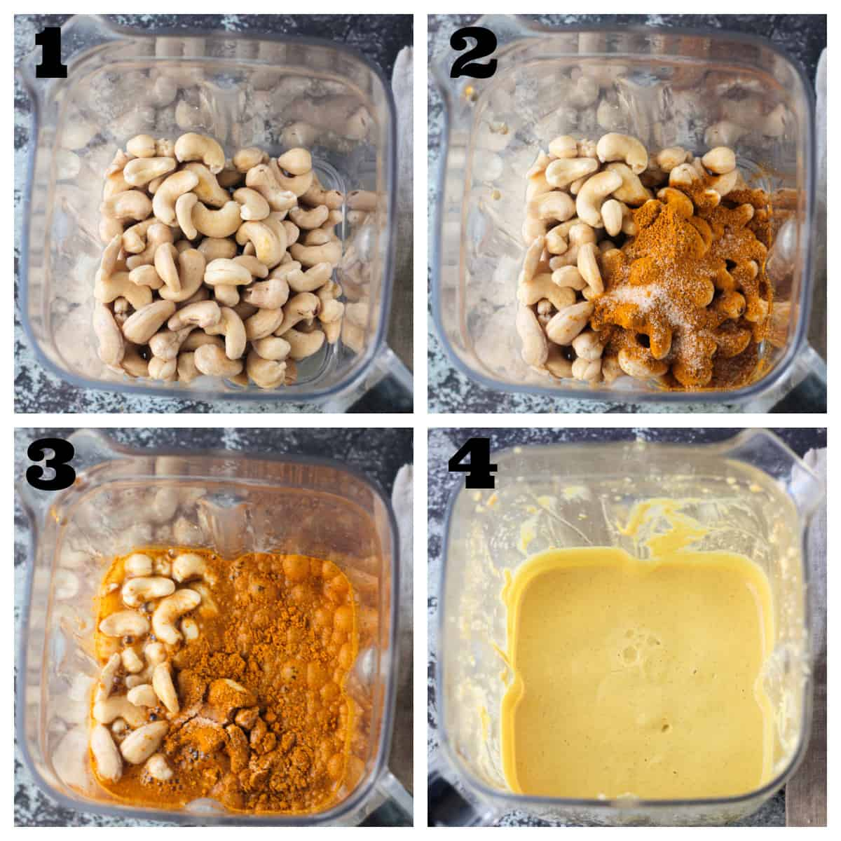 4 photo collage of making the cashew curry sauce.