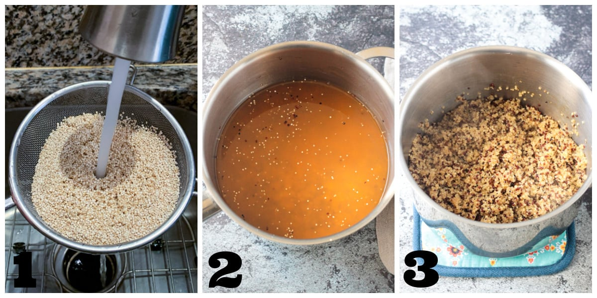3 photo collage of rinsing, cooking and fluffing quinoa.