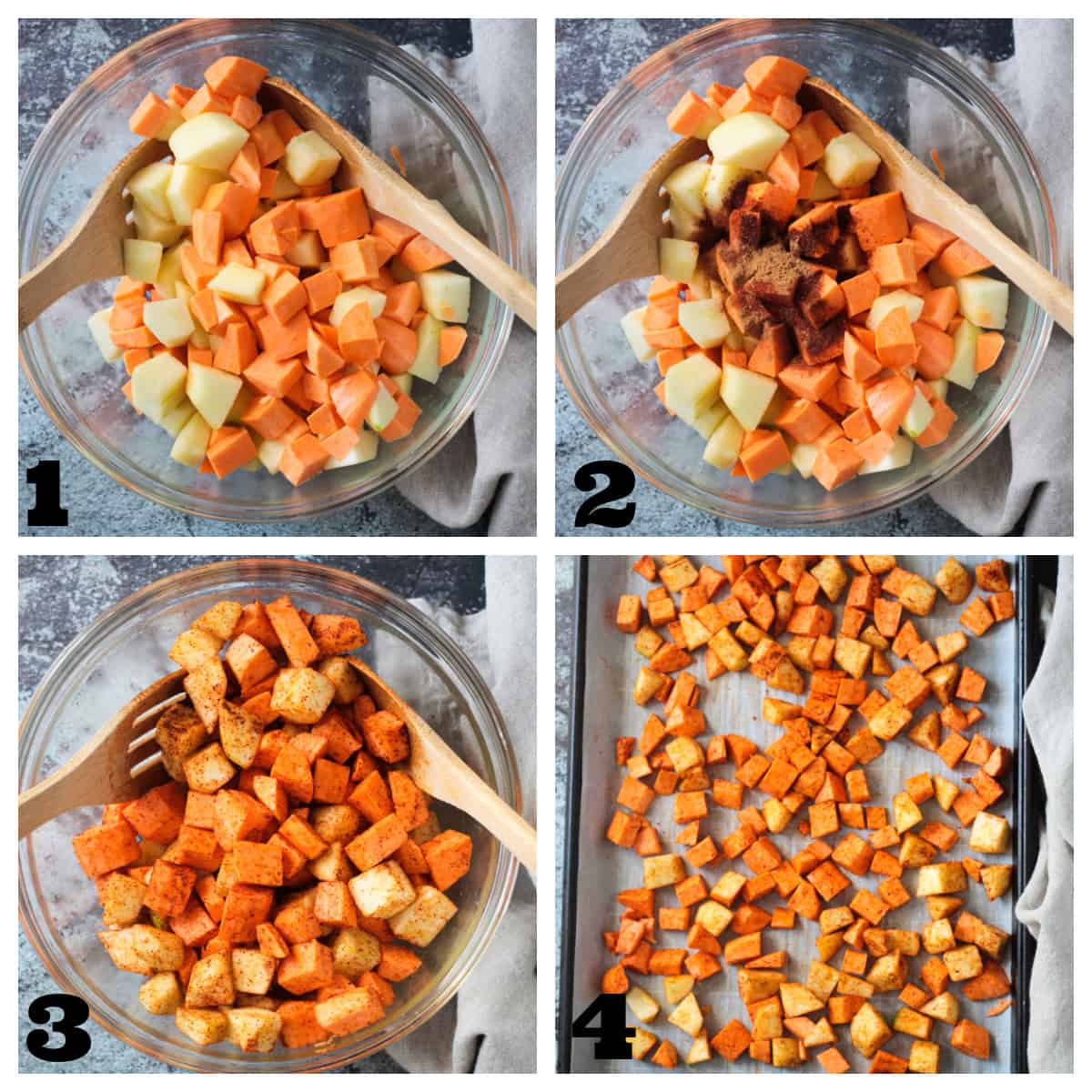 4 photo collage of seasoning sweet potatoes and apples and spreading on a baking sheet.