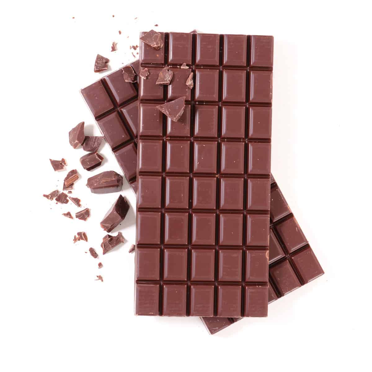 Two bars of chocolate on a white background.
