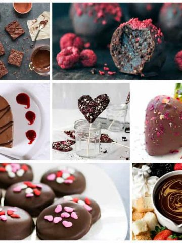7 photo collage of sweet vegan chocolate recipes.