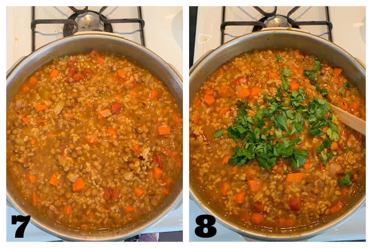 2 photo collage of the finished soup and adding garnishes.