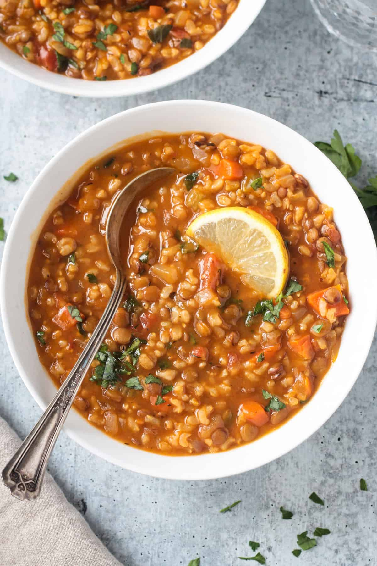 Metal spoon in a bowl of lentil rice soup.