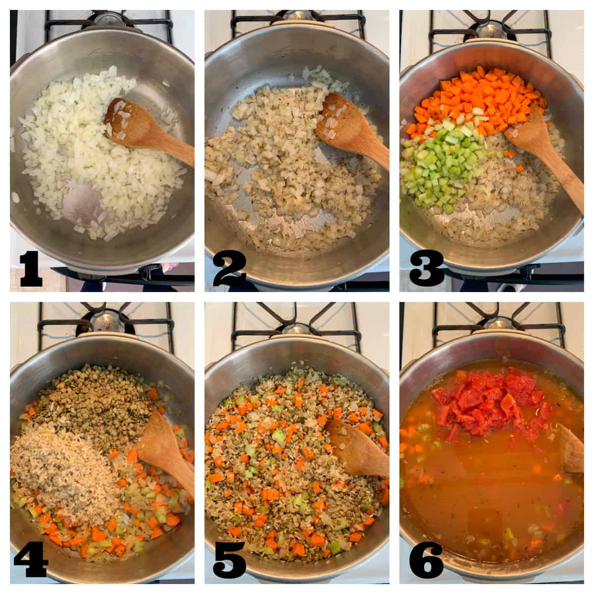 6 photo collage showing steps to make lentil rice soup.
