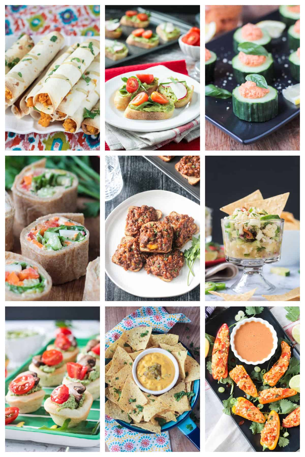 9 photo collage of a variety of vegan appetizers.