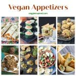 8 photo collage of a variety of vegan appetizers.