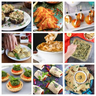9 photo collage of a variety of vegan appetizers and snacks.