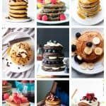 9 photo collage of a variety of vegan pancakes.
