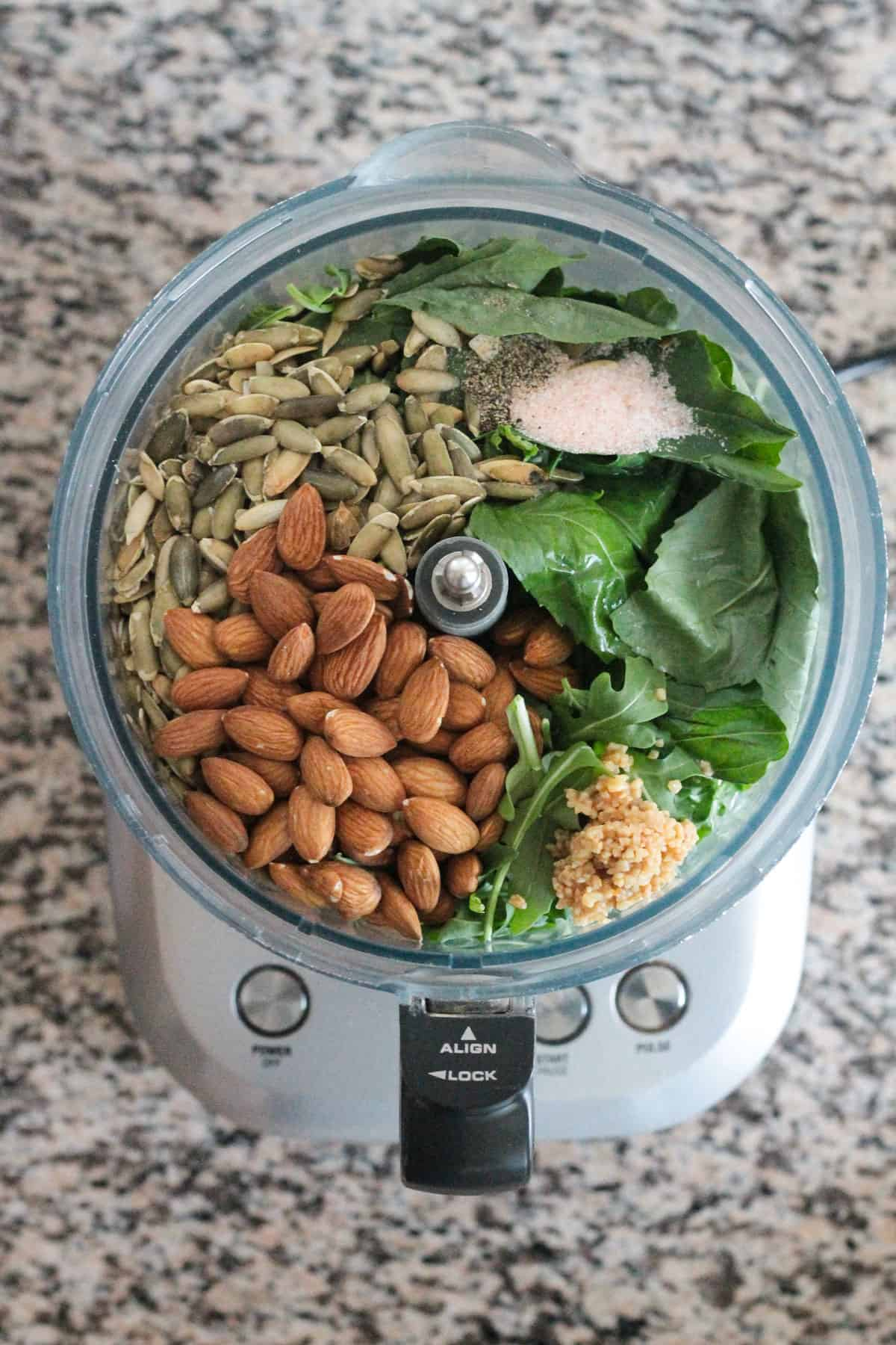 Recipe ingredients in a food processor.