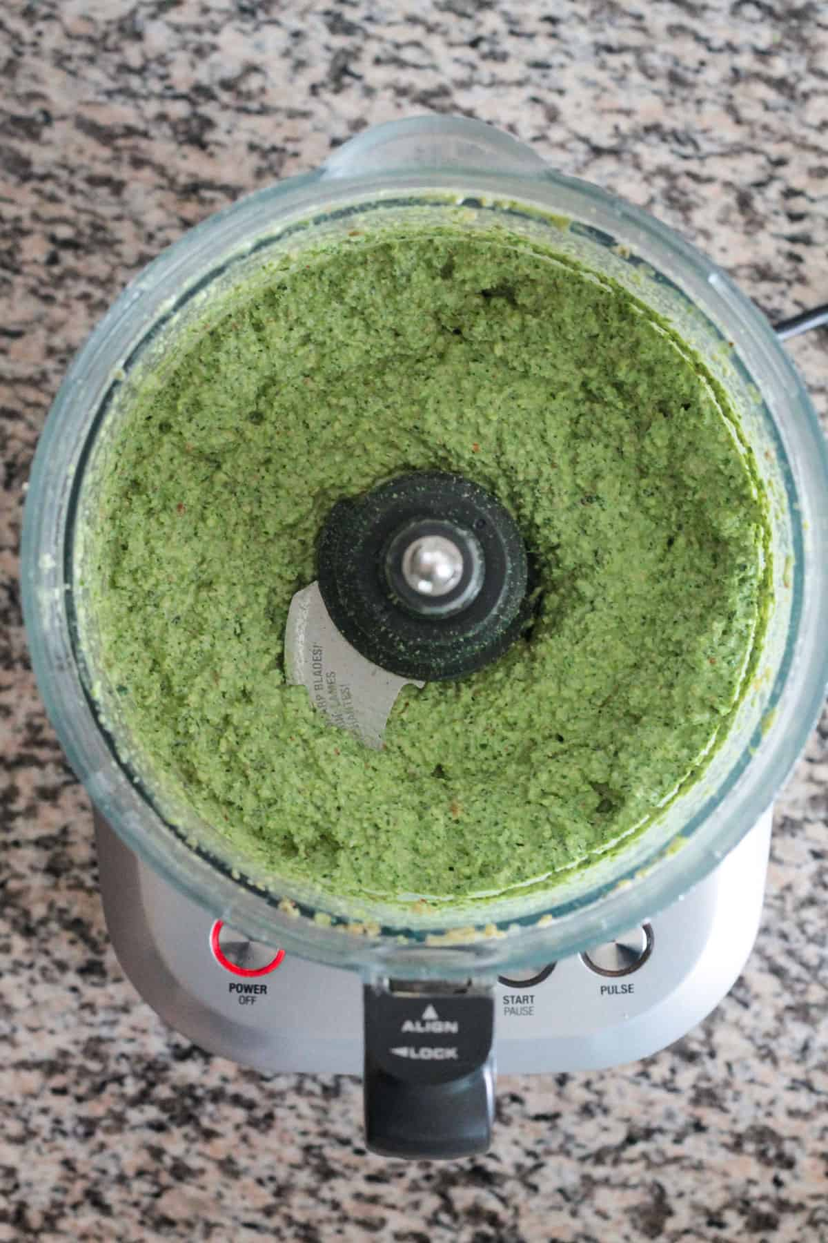 Ingredients pulsed into a sauce in the food processor.