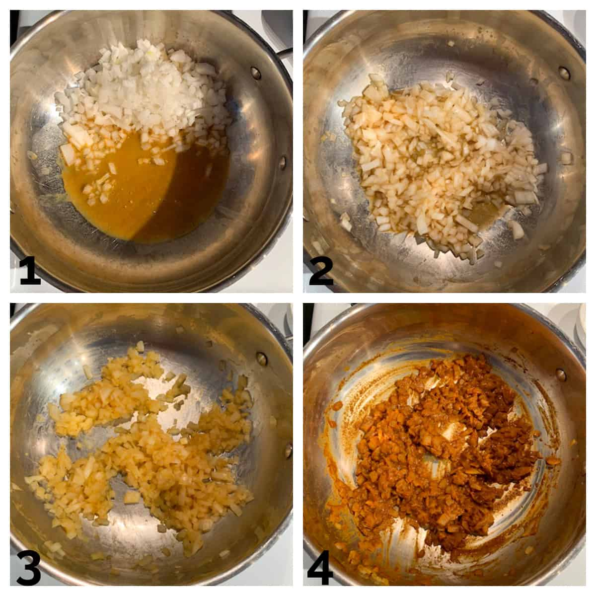 4 photo collage of sautéing onions in broth and adding spices.