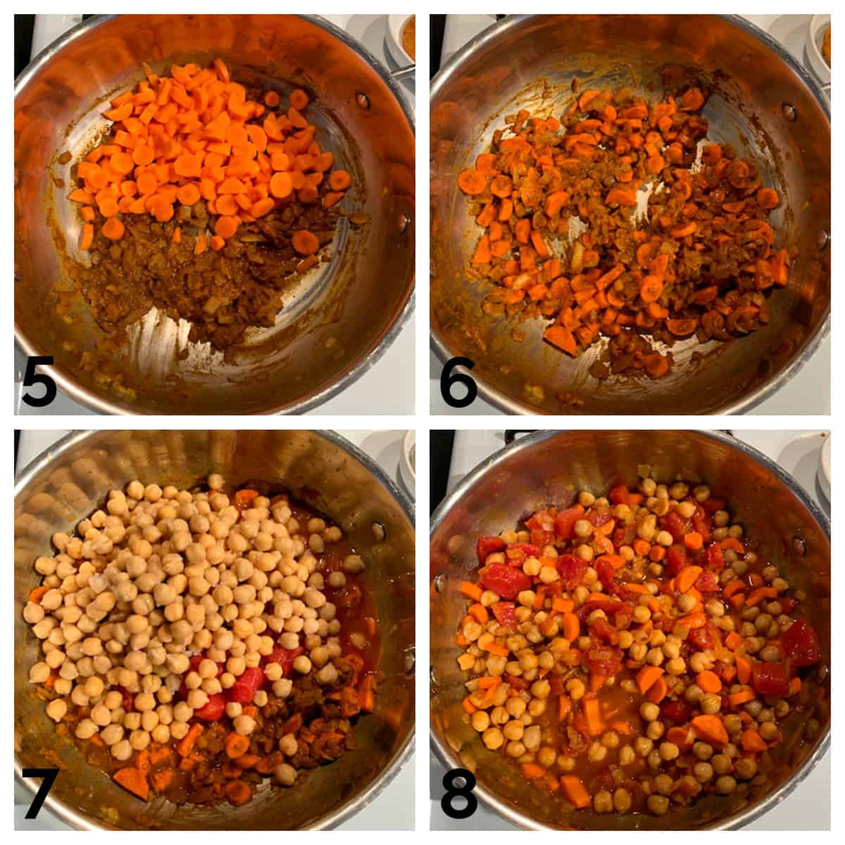 4 photo collage of adding carrots, chickpeas, and tomatoes to create the stew.