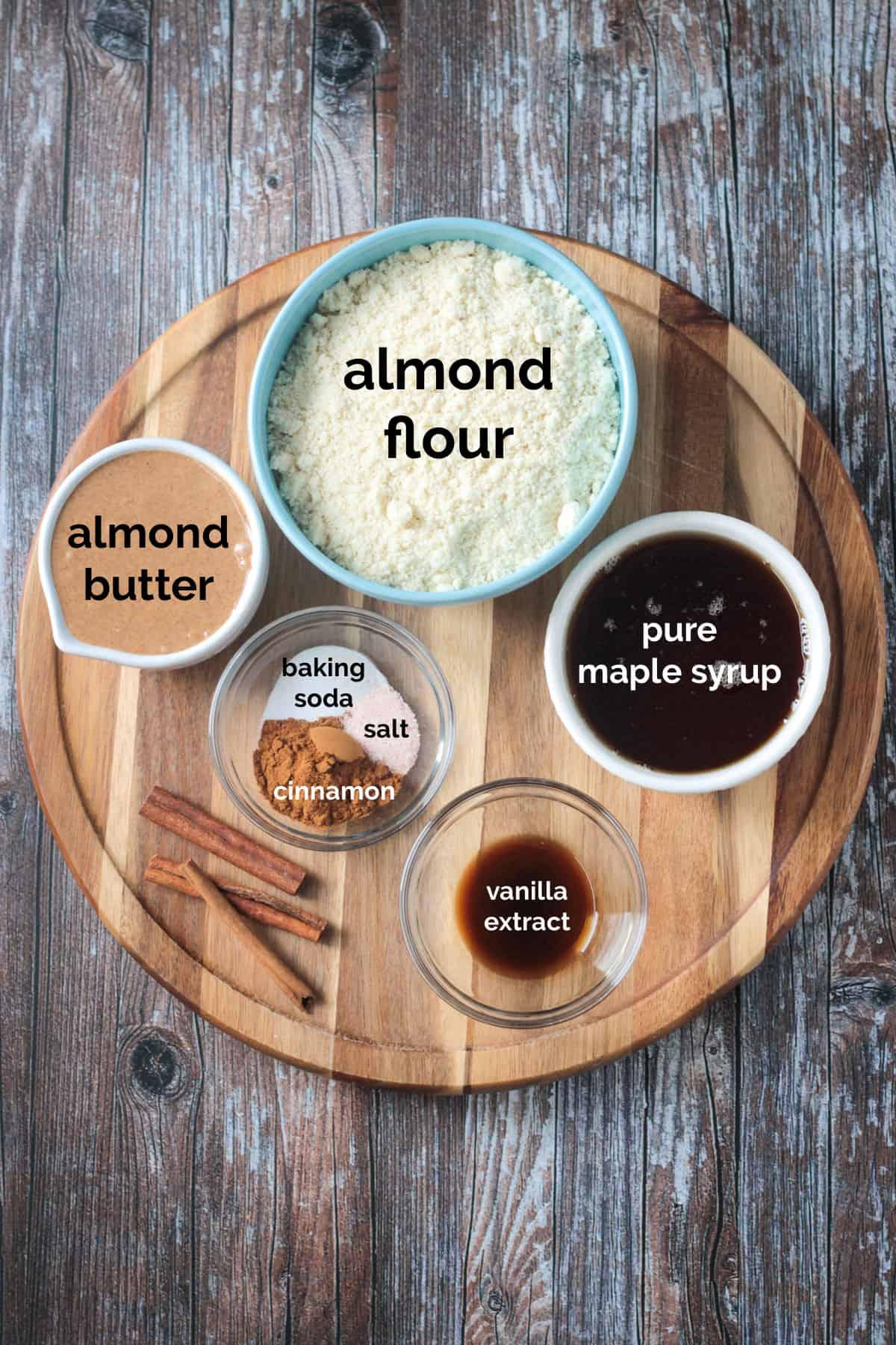 Vegan Cinnamon Cookies ingredients arrayed in individual bowls.
