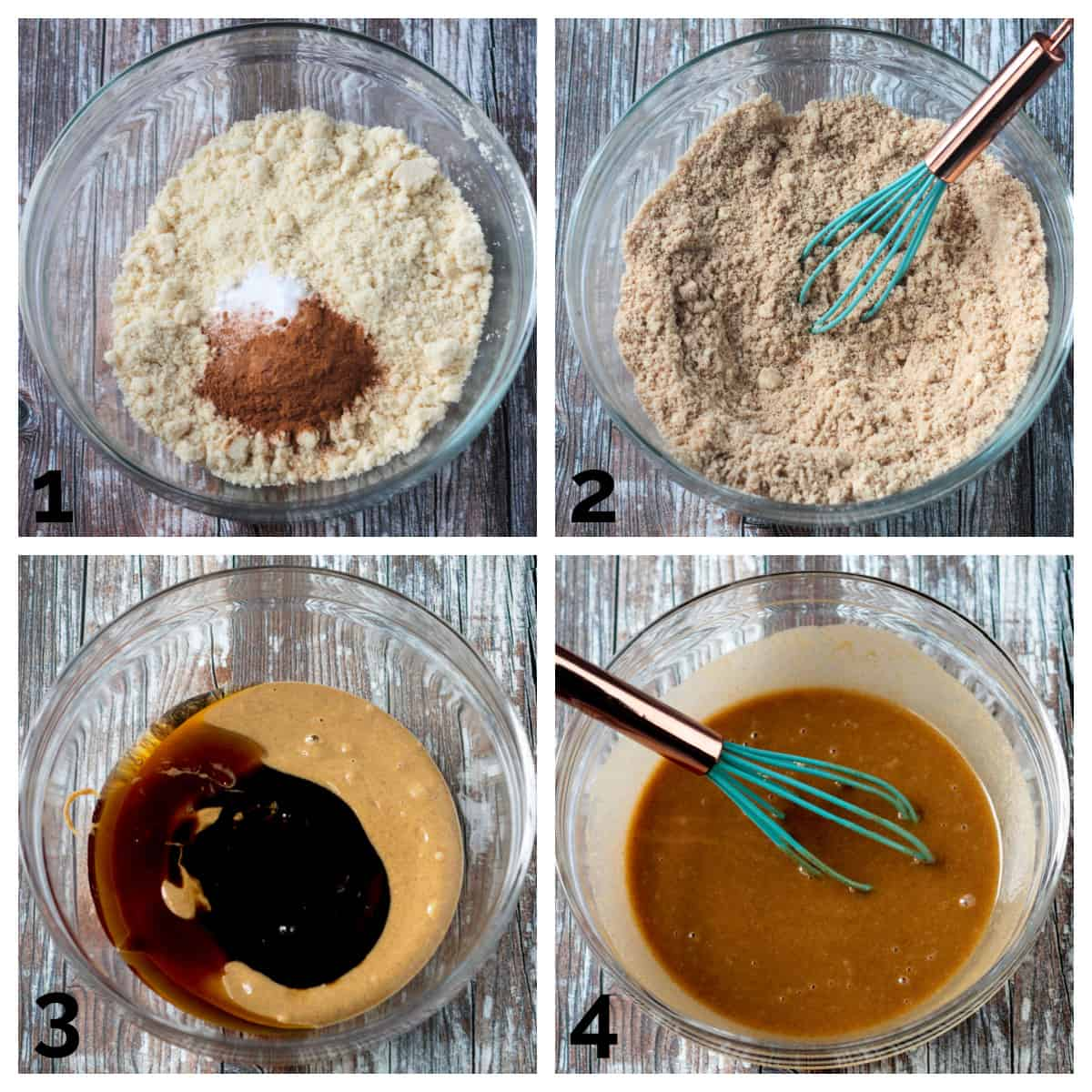 4 photo collage of prepping and whisking the dry and wet ingredients.