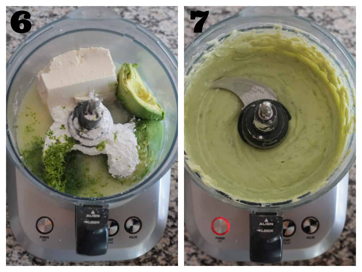 2 photo collage making the lime filling in a food processor.