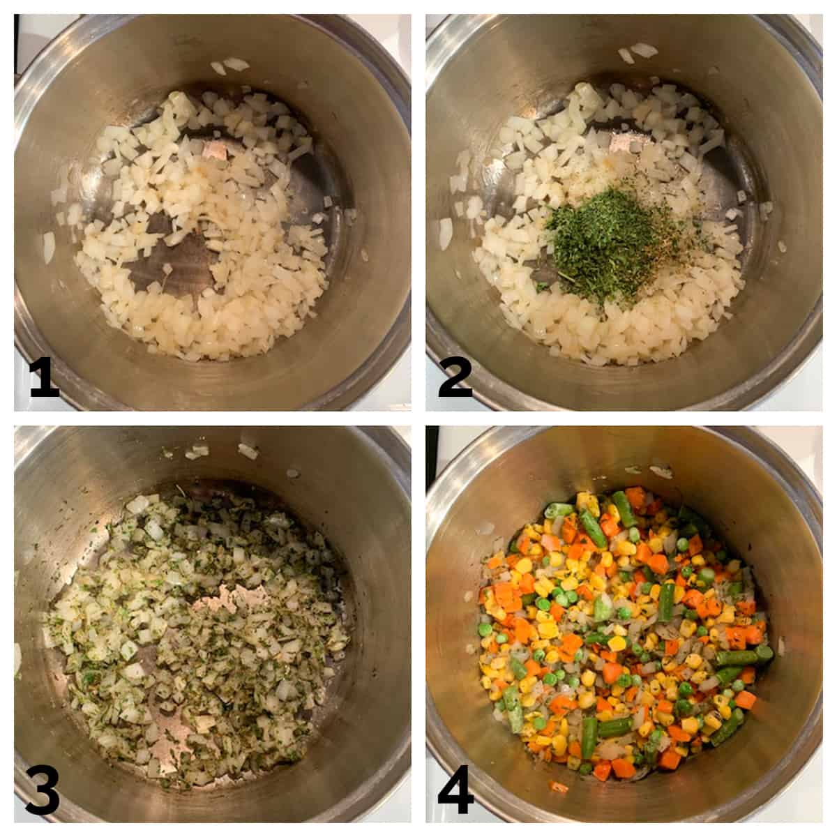 4 photo collage of sautéing onions and vegetables with herbs in a soup pot.