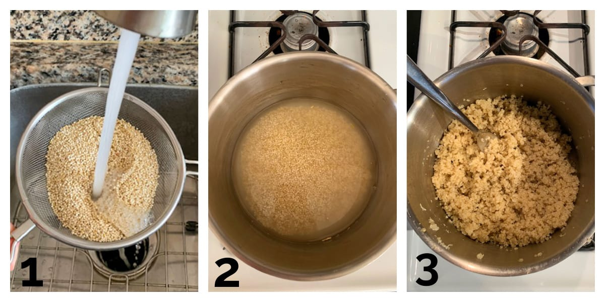 3 photo collage of rinsing, cooking and fluffing the quinoa.