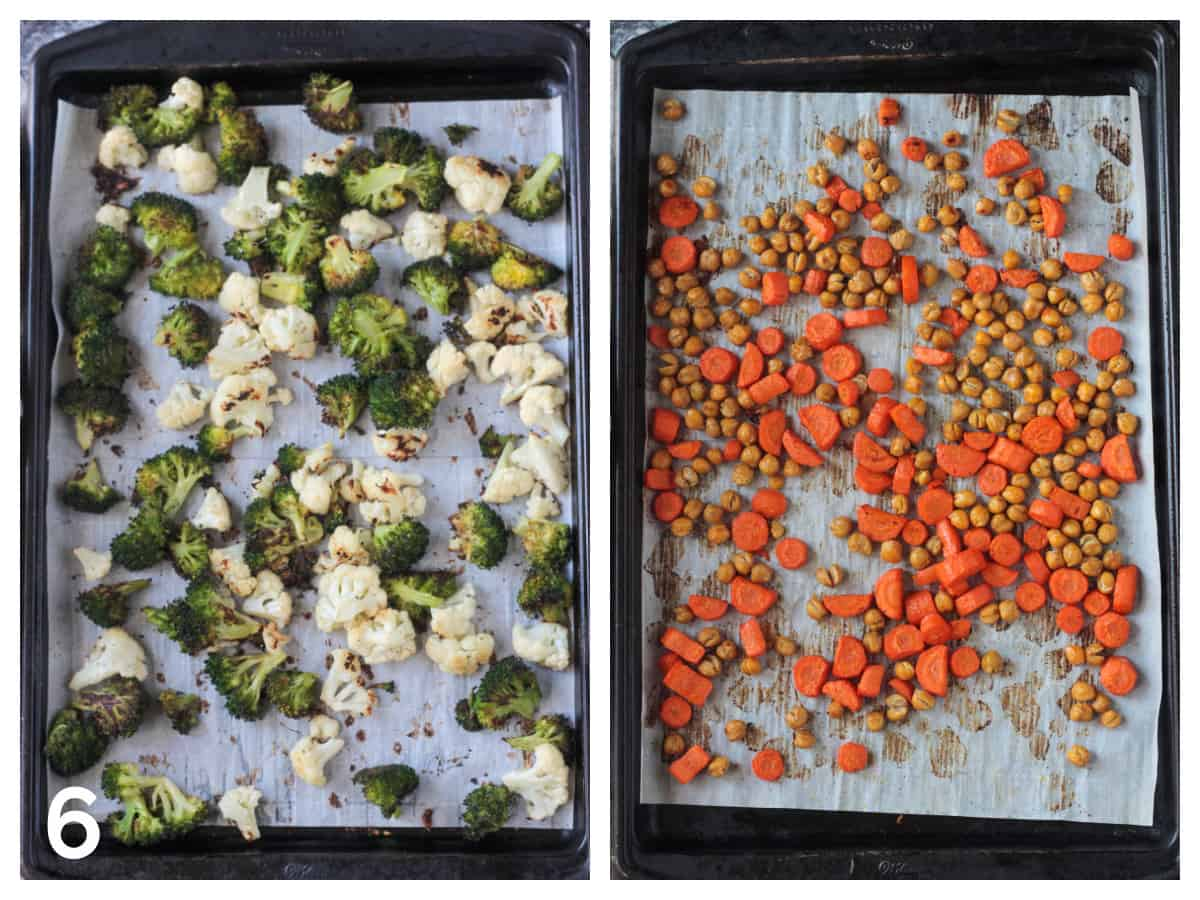 Roasted broccoli & cauliflower on one sheet pan and roasted carrots and chickpeas on another.