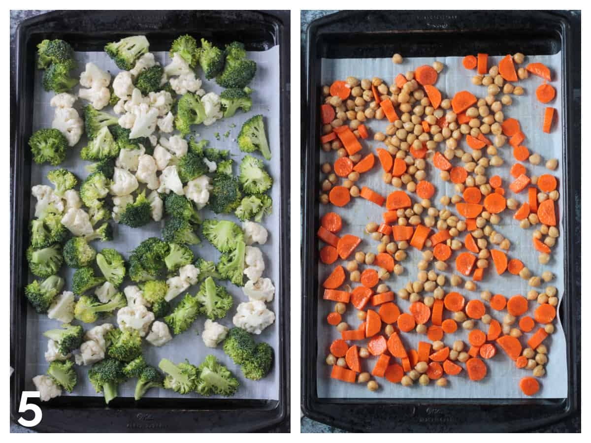 Veggies in an even layer on a parchment paper lined rimmed baking sheet.