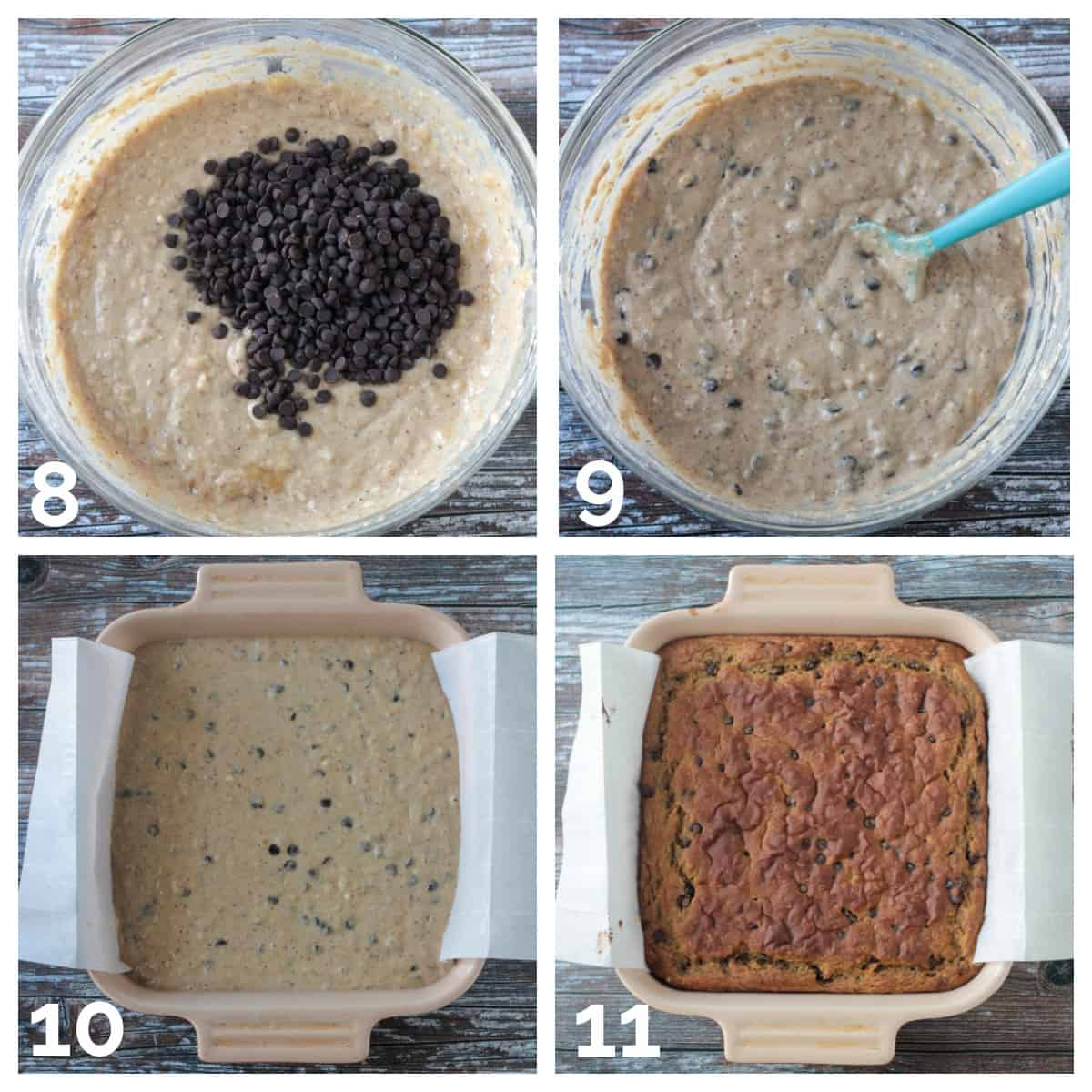 4 photo collage of adding chocolate chips to the batter and baking it in pan.