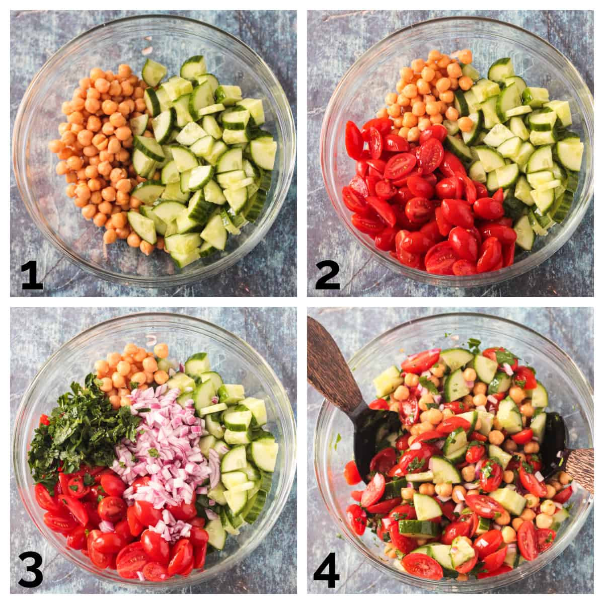 4 photo collage of adding the chopped veggies to a bowl and mixing.