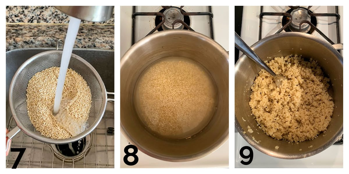 3 photo collage of rinsing and cooking quinoa in a pot.