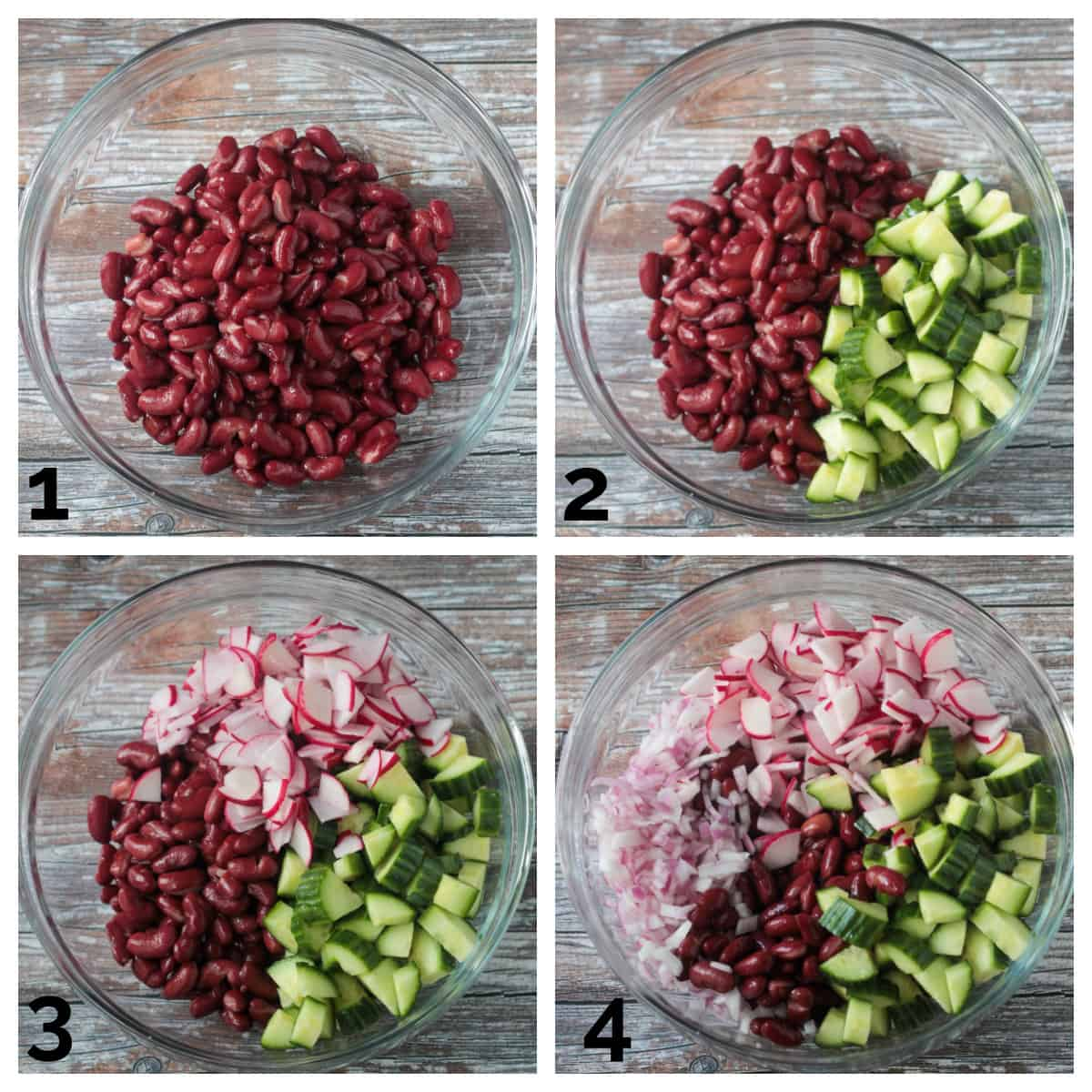 4 photo collage of adding beans, cucumber, radishes and red onion to a mixing bowl.