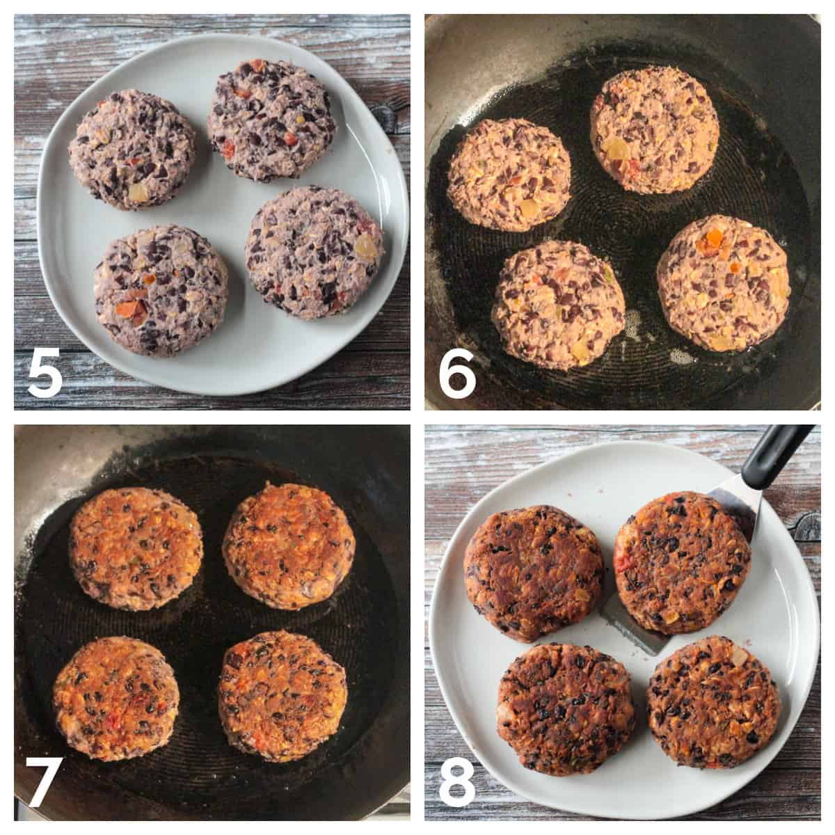 4 photo collage of forming and cooking the patties.