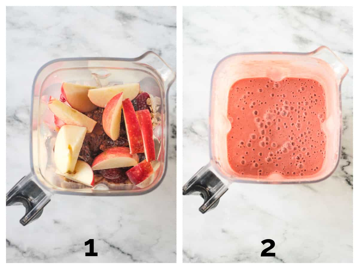 Two photo collage of ingredients in a blender and the puréed drink.