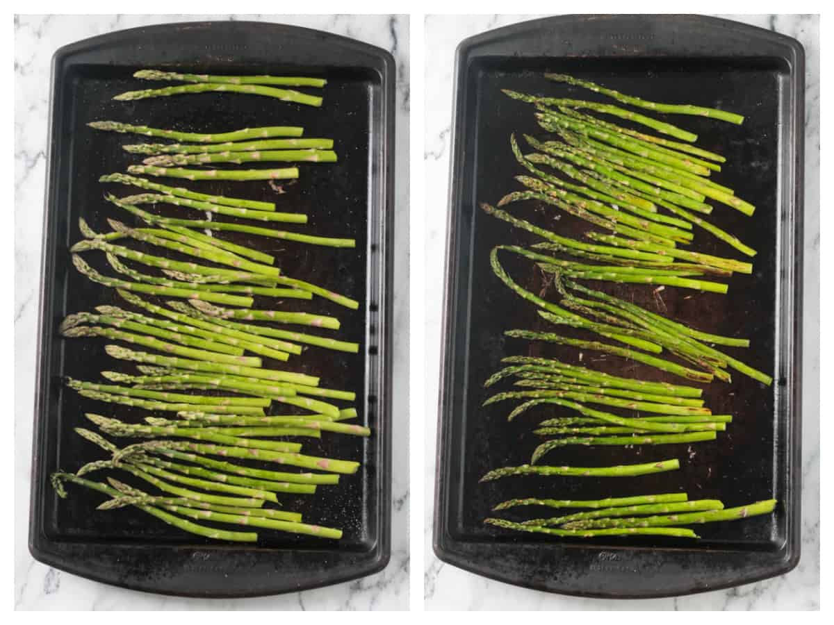 Two photo collage of raw and roasted asparagus on a rimmed baking sheet.