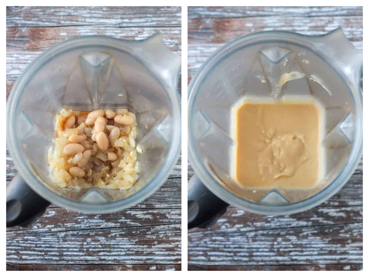 Two photo collage of the sauce ingredients in a blender and the puréed sauce.