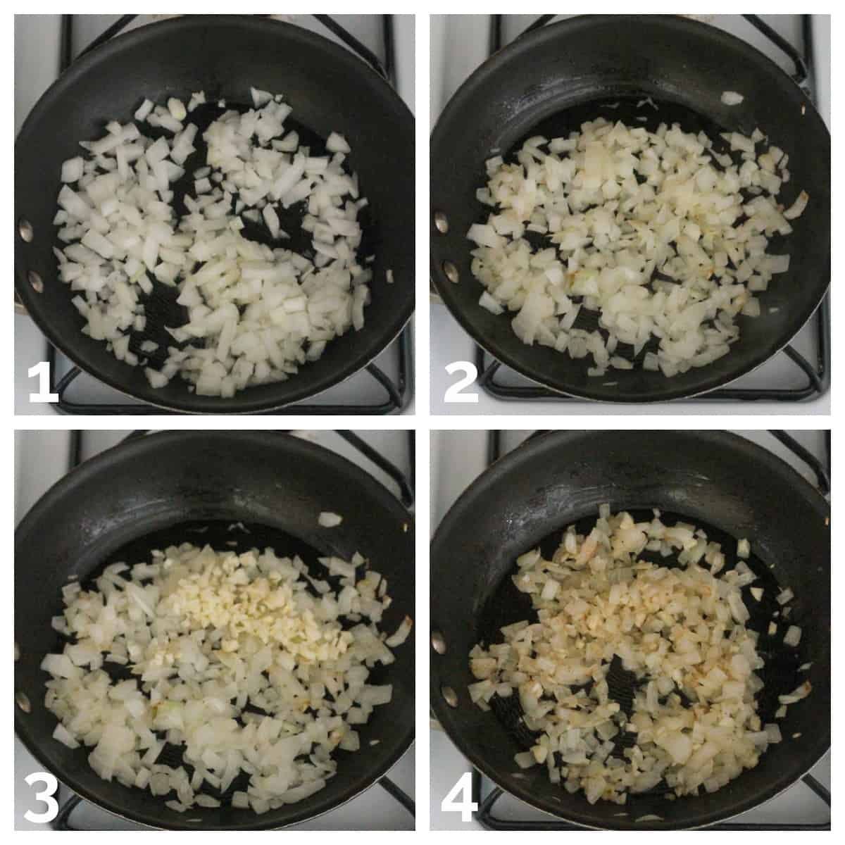 Four photo collage of sautéing onions and garlic until soft and translucent.