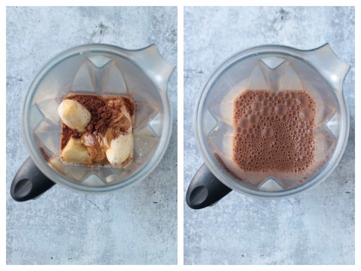 2 photo collage of ingredients in blender and finished smoothie in blender.
